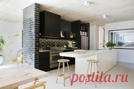 Кирпичная стена в интерьере кухни | Роскошь и уют