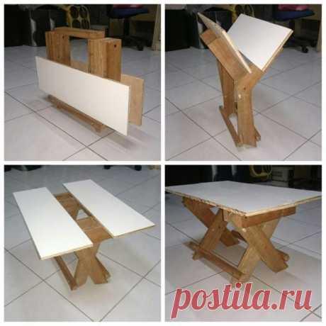Как сделать складной многофункциональный столик Достаточно прочный ли этот столик-поделка? Да. Его конструкция уникальна: столешница состоит из двух половинок и когда вы давите на нее, обе половинки сталкиваются друг с другом, поэтому при письме ил...