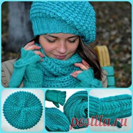 """Set from a beret, a snud and mittens...\u000d\u000aFrom the Tow\u000d\u000aAs well as the majority we are warmed for the winter... here such set turned out from a beret, a snud and... multipurpose mittens....\u000d\u000aI knitted in two threads from Alize of Kashmir 100\/300m No. 64 and Alize Angora luxury 100\/520m No. 11443\u000d\u000aGathered 88 loops on circular spokes No. 3 (densely tried) an elastic band 2*2 in height of 7 cm... then passed to spokes No. 4.5 and knitted knitting """"ежик""""...ничего did not add, volume in itself is viscous... but tried an elm..."""