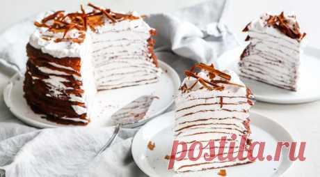 Шоколадный блинный торт, пошаговый рецепт с фото