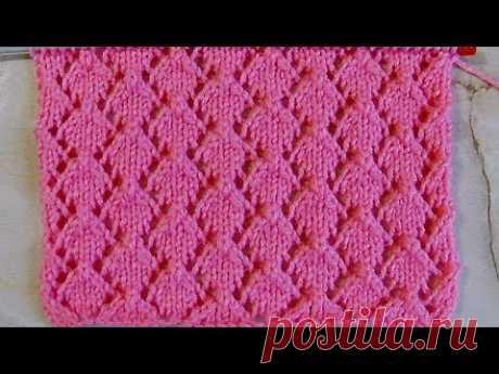 Ажурный узор Ромбики Вязание спицами Видеоурок 245