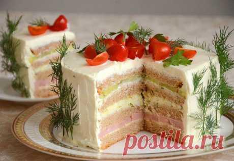 Бутербродный торт с ветчиной и сыром — Sloosh – кулинарные рецепты