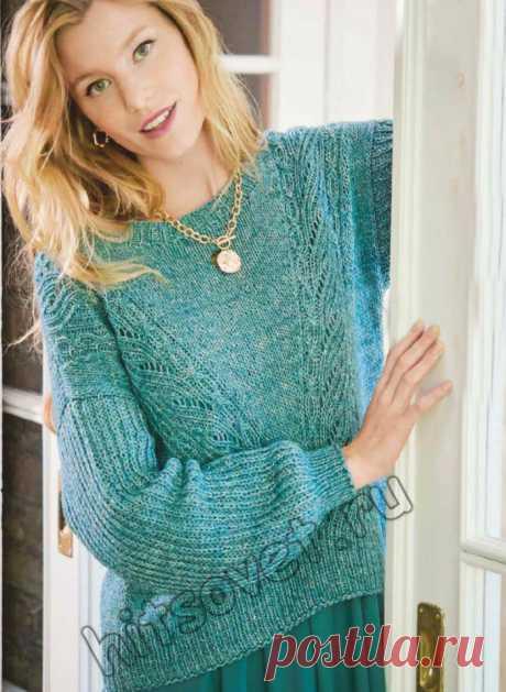 Вязание пуловера с ажурными полосами и полупатентным узором - Хитсовет