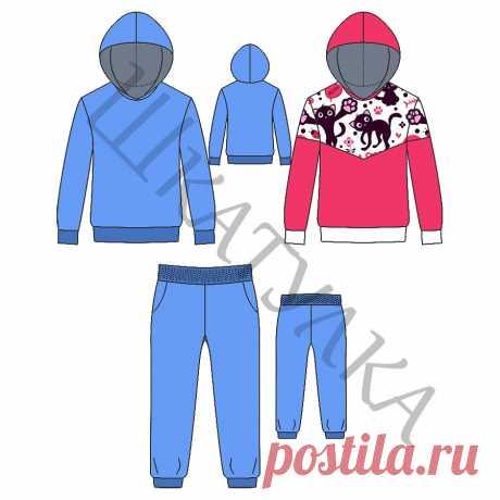 Выкройка базового спортивного детского костюма KK160419 | Шкатулка