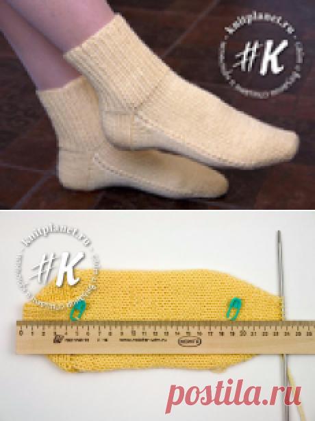 Носки на двух спицах без шва. Простой способ (Прямая пятка)