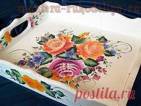 Мастер-класс по росписи двойной мазок: Тагильская роза