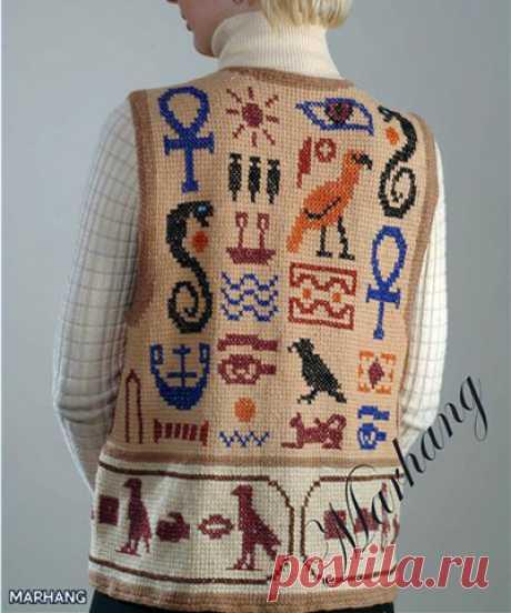 Жилет Египетскиемотивы Вязаный жилет Египетские мотивы (тунисское вязание). Описание, схемы  Для жилета такой