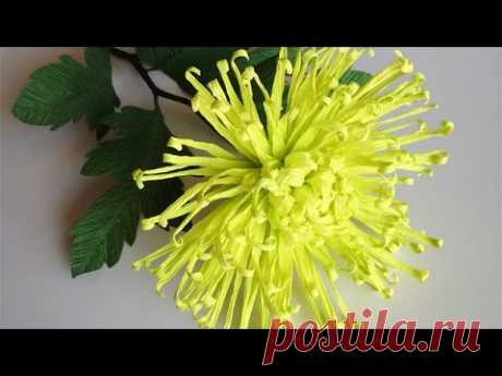 АВС ТV   Как сделать паук Хризантема бумажный цветок из Крепе бумаги - Craft Tutorial