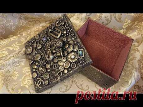 Декор коробки для рукоделия - мастер-класс