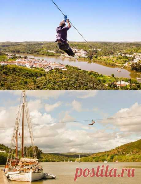 720 метровый стальной трос соединяющий Испанию и Португалию