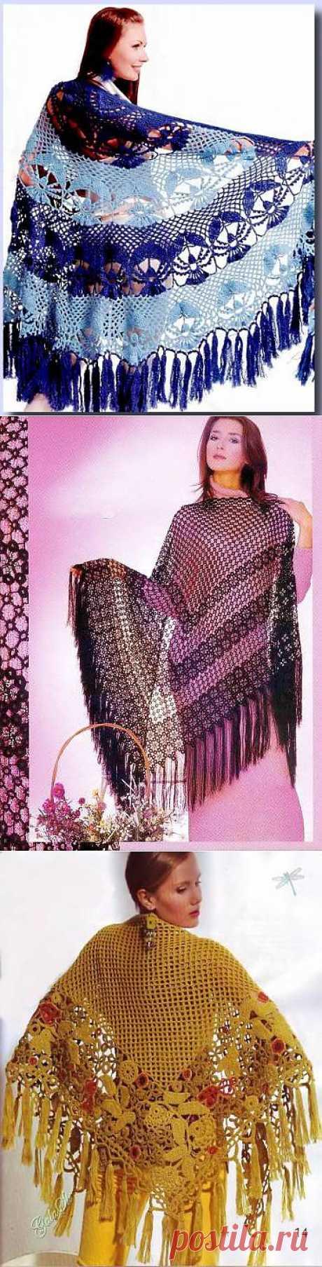Схемы вязания шали - Схемы для вязания - Уроки вязания крючком - Вязание крючком, мотивы, схемы для вязания крючком