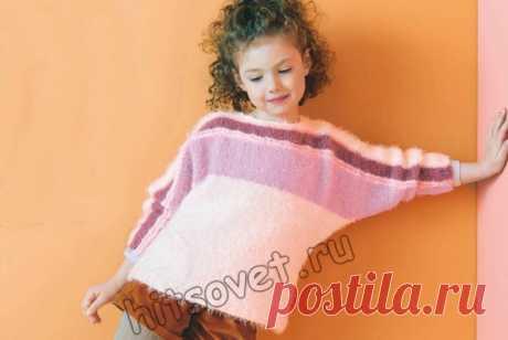 Вязание пуловера для девочки с рукавами летучая мышь - Хитсовет