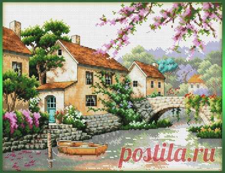Вышивка крестом: домик у реки