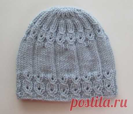 Handknitsbyelena - - Blue Hat with Mock Cables for a Lady