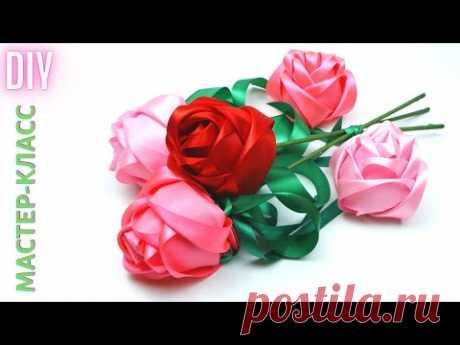 Новые РОЗЫ ИЗ ЛЕНТ без клея и ниток - СМОТРЯТСЯ ШИКАРНО! / Beautiful Satin Ribbon Roses / NataliDoma
