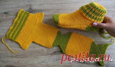 Носки на двух спицах Турецким способом вязания