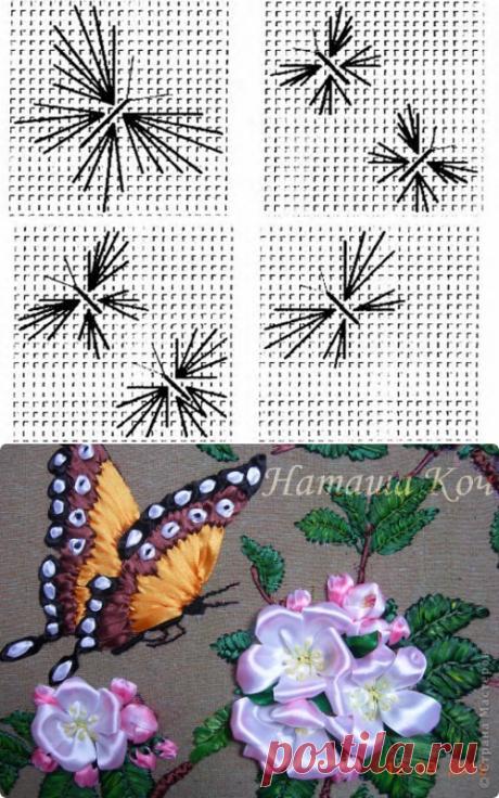Вышиваем лентами бабочку / Вышивка лентами / В рукоделии