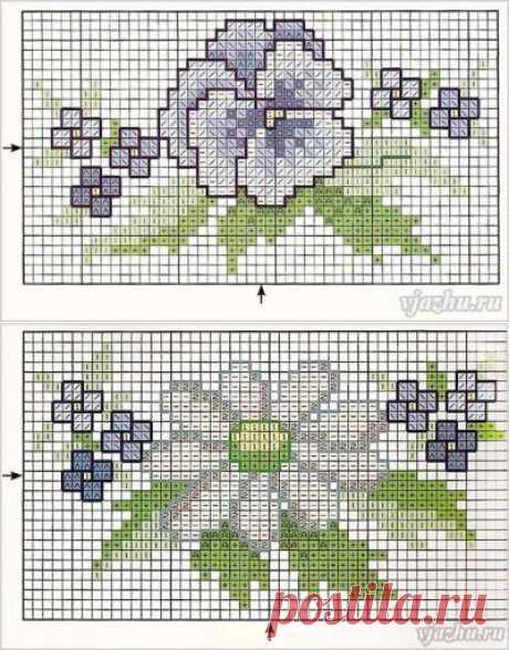 Схемы цветов для скатерти (вышивание).