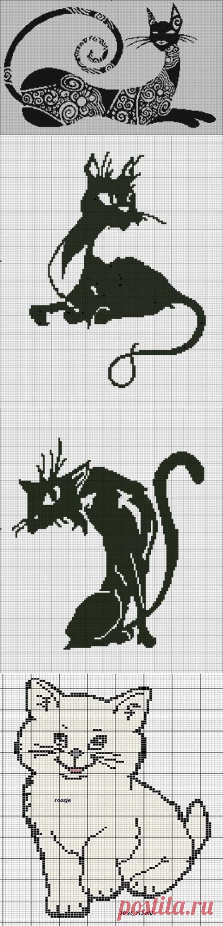 Коты.Схемы для вышивки- монохром или филейного вязания.