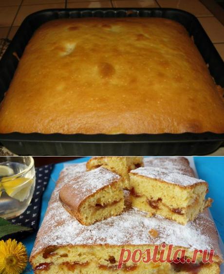 Воздушный и безумно вкусный пирог на скорую руку: не стыдно и к праздничному столу предложить!  Угости друзей вкуснейшим домашним пирогом, приготовление которого и часа не займет!