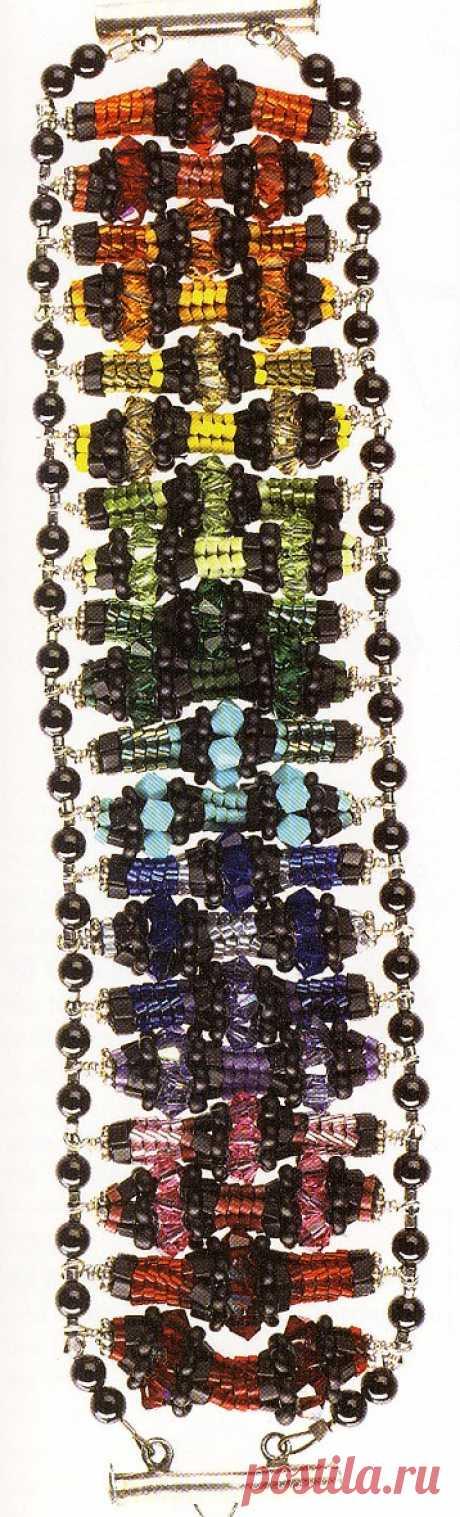 """Браслет """"Радуга"""" и """"Эффект алмаза"""" Браслеты из бисера – Бисерок Очень необычный браслет из оплетенных бусин бисером. Радужная расцветка. Схема плетения фрагментов, из которых состоит браслет."""