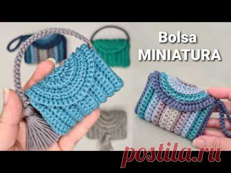 Bolsa de crochê MINIATURA -            Modelo Multiuso - YouTube
