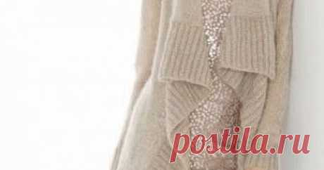 Жакет с полочками из резинки (вязание спицами)    Жакет бежевого цвета связан лицевой гладью. Планка из резинки хорошо дополняет эту модель