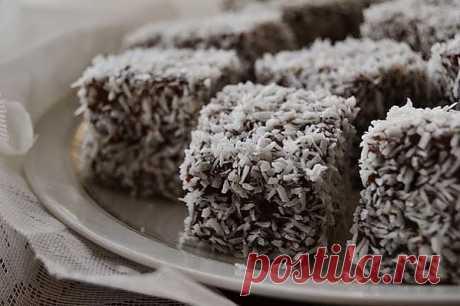 Ламингтон в кокосовой стружке- Kulinarnyj-Recept.��