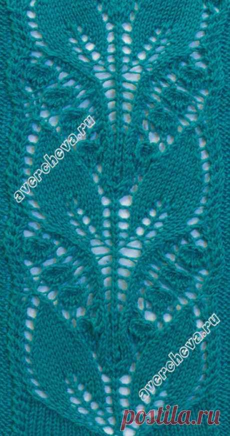Вязание спицами - узоры спицами - листики