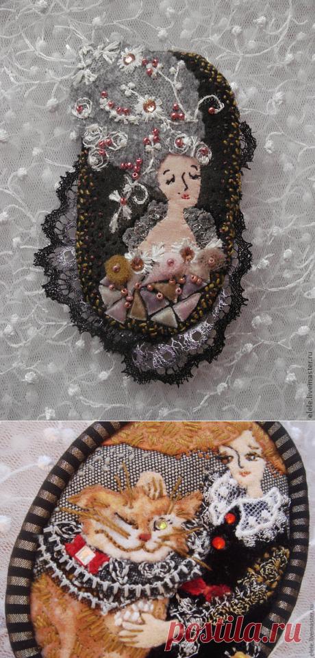 Текстильные авторские броши Елены Аксеновой