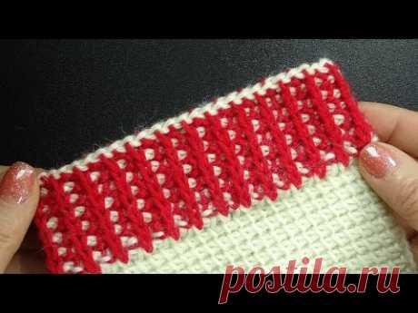 Имитация резинки тунисским крючком Tunisian crochet pattern 54