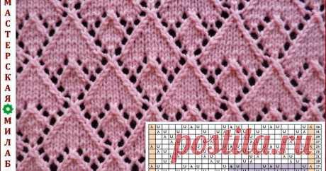 Ажурный узор спицами № 2 Блог представляет схемы узоров вязания спицами, крючком, на цветочном луме.