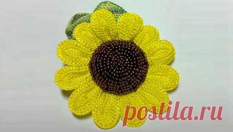 Knitting by a hook: Sunflower