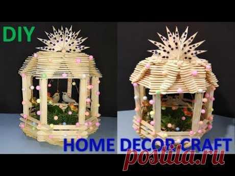 How to make ice cream stick home for birds || DIY || home decor crafts