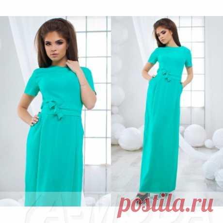 Длинное платье из штапеля с поясом