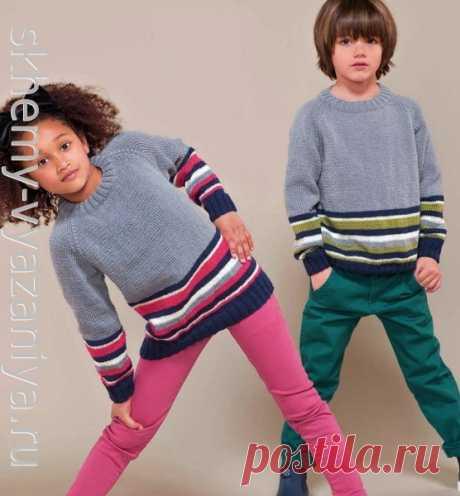 Джемпер реглан в полоску для девочки и для мальчика. Схема вязания спицами и описание.