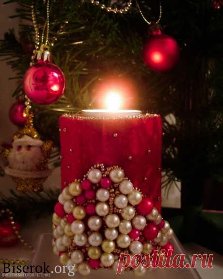 МК Подсвечник Новогодние изделия из бисера, Разные изделия из бисера – Бисерок Как сделать прекрасный подарок на Новый Год. Мастер-класс подсвечник своими руками.