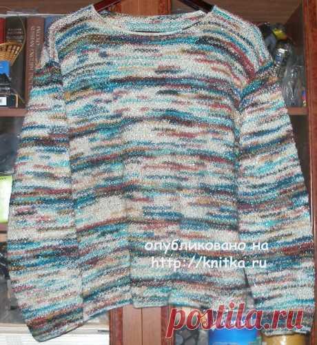 Пуловер из цветной пряжи. Работа Елены,  Вязание для женщин