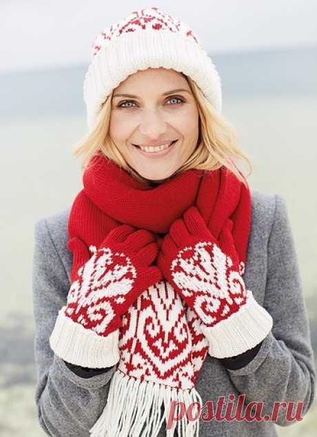 Жаккардовый комплект: шапка, шарф и перчатки