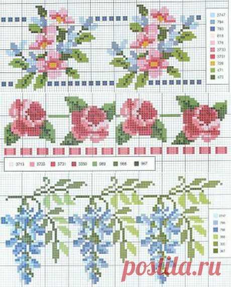 Вышитые цветы. Схемы цветов | Энциклопедия рукоделия