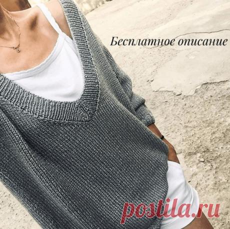 Чудный пуловер спицами с v-образным вырезом - вяжется быстро и предельно просто!