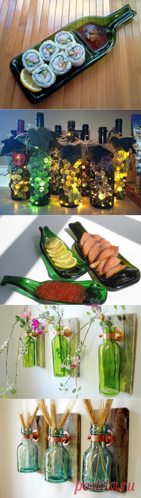 Поделки из стеклянных бутылок для дома и дачи
