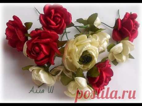 МК Маленькие цветы из лент для веночков и ободочков...