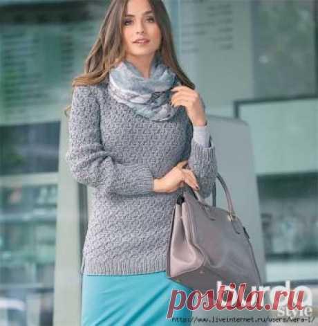 Вяжем пуловер с рельефным узором РАЗМЕРЫ S (M) L (XL)   ОБХВАТ ГРУДИ  84 (92) 100 (110) см   ДЛИНА  70 см