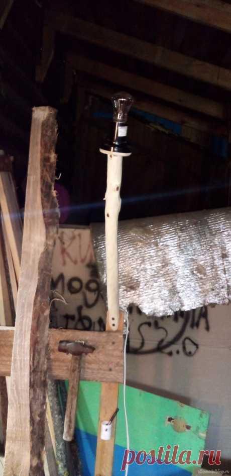 Светильник из палки Всем привет сегодня я попытаюсь сделать светильник из природных материалов для этого нам нужно: палка у меня это черёмуха в длину сколько-нибудь сантиметров, кабель 0.75 мм2 сколько-нибудь метров, тонкая деревяшка, патрон E27, лампа накаливания именно накаливания так как у себя в голове