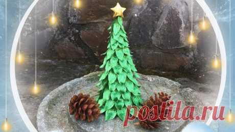 Как сделать 3D-новогоднюю елку из креповой бумаги №1 - Урок по изготовлению