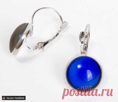 Серьги 'Хамелеон' с синим камнем ручной работы купить в Минске и Беларуси, цены на HandMade