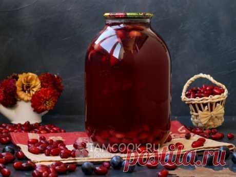 Компот из тёрна и кизила на зиму — рецепт с фото Очень вкусный компот из двух терпких ягод - тёрна и кизила - разнообразит ваше меню в зимний период.