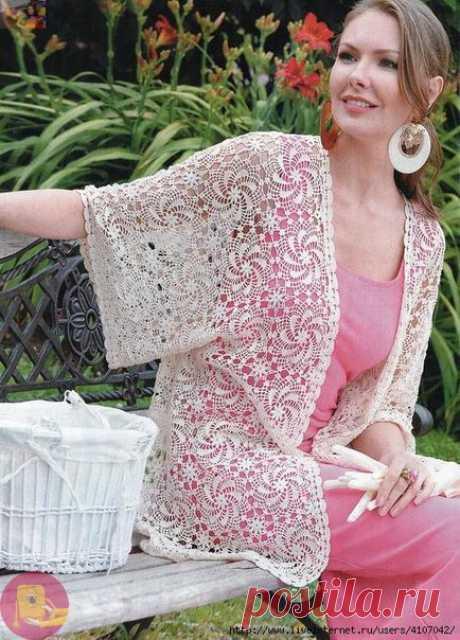 Жакет кимоно с ажурными мотивами — Сделай сам, идеи для творчества - DIY Ideas