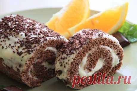 Шоколадно-апельсиновый рулет с маскарпоне — Sloosh – кулинарные рецепты